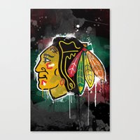 blackhawks Canvas Prints featuring chicago blackhawks hockey by abstract sports