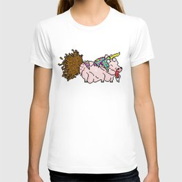 An ugly Unicorn craping out of his butt T-shirt