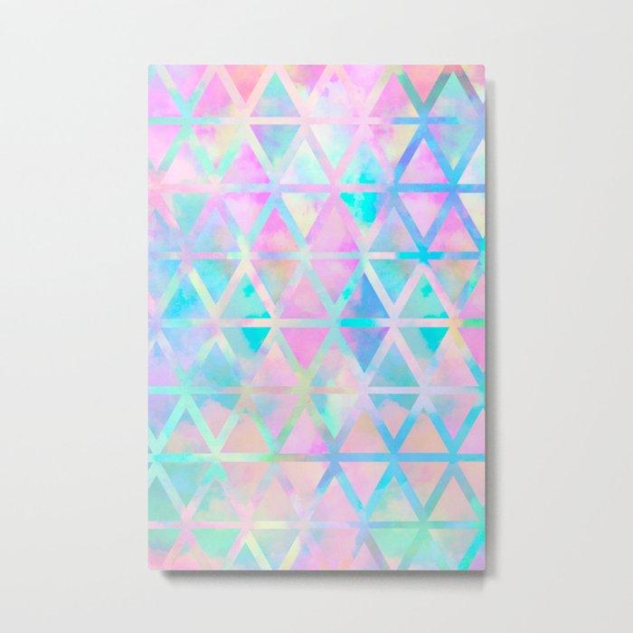 Pink pastel aztec pattern Metal Print