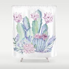 Desert Love Cactus + Succulents Shower Curtain