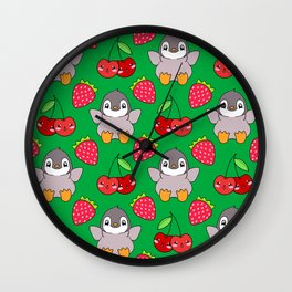 Cute funny sweet adorable happy baby penguins, little cherries and red ripe summer strawberries cartoon fantasy vibrant dark green pattern design Wall Clock