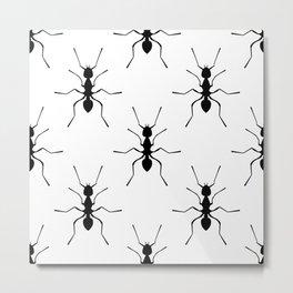 Repetitive Ants Pattern 01 - white & black Metal Print