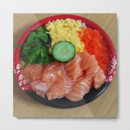 My favorite salmon sashimi donburi Metal Print