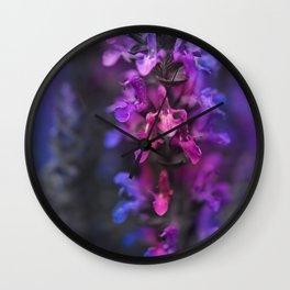 Purple Rain Of Purple Salvia Flowers Wall Clock