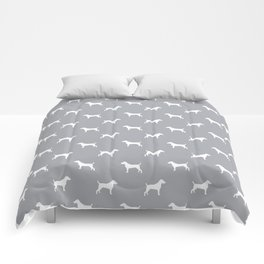 Jack Russell Terrier grey and white minimal dog pattern dog silhouette pattern Comforters