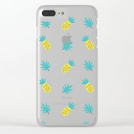 Summer sunshine yellow teal pineapple tropical leaves pattern Clear iPhone Case