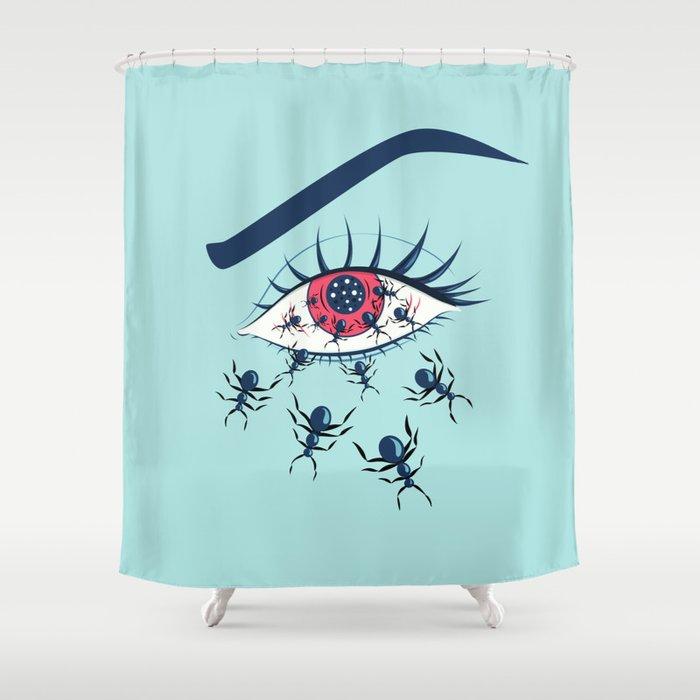 Creepy Red Eye With Ants Shower Curtain By Borianagiormova