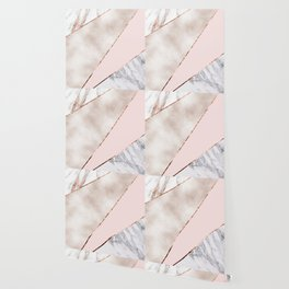 Spliced mixed rose gold marble Wallpaper