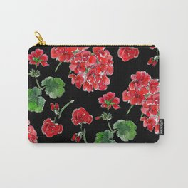 Red Geranium with black background Carry-All Pouch