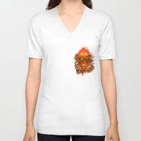 pocket V-neck T-shirts featuring Pocket Calcifer by Natalie