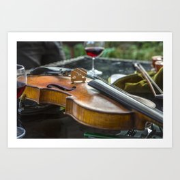 Violin with wine Art Print