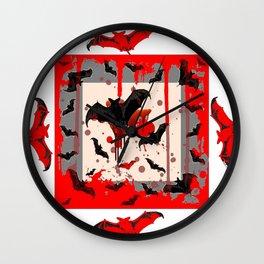 FREAKING HALLOWEEN BLOODY BAT PARTY Wall Clock