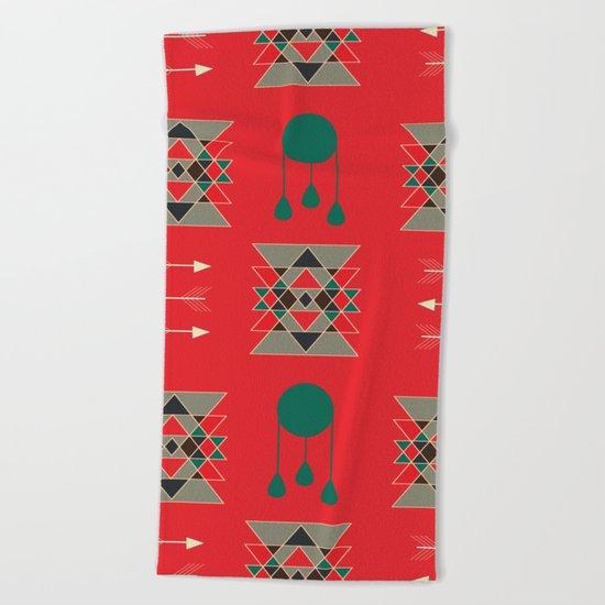 dream-catcher Red Beach Towel