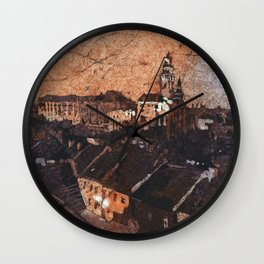 Cesky Krumlov sunset painting- Czech Republic Wall Clock