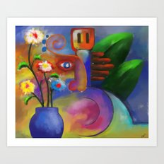Musician and Flowers Art Print