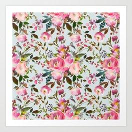 Pretty Pink Blossom on Duck Egg Blue Art Print