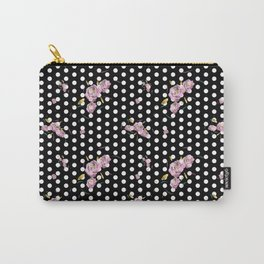 Floral Dot in Black Carry-All Pouch
