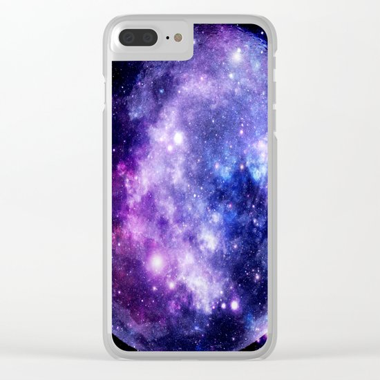 Galaxy Planet Purple Blue Space Clear iPhone Case