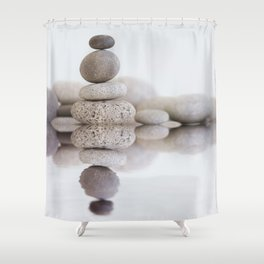 Stone Balance pebble cairn and water Shower Curtain