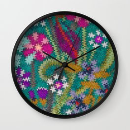 Starry Floral Felted Wool, Turquoise and Pink Wall Clock