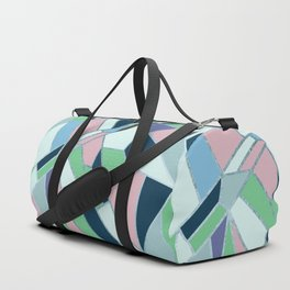 Pink navy blue green hand drawn geometrical pattern Duffle Bag