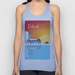 Detroit, Michigan - Skyline Illustration by Loose Petals Unisex Tank Top