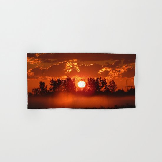 Flaming Horses over the Foggy Sunrise Hand & Bath Towel