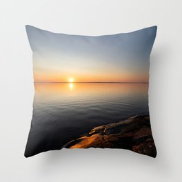 Calm serene sunrise lake scenery Throw Pillow
