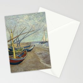 Fishing boats on the beach by Vincent Van Gogh Stationery Cards