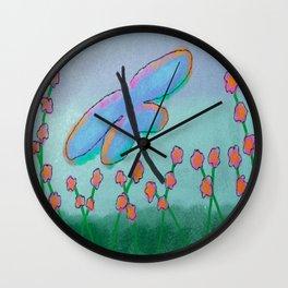 Blue Dragonfly Abstract Digital Painting Wall Clock