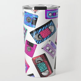 Retro 80's 90's Neon Patterned Cassette Tapes Travel Mug