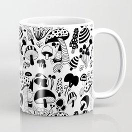 Friends among the mushrooms - Black and White Coffee Mug