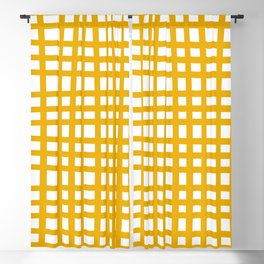 Modern Plaid Pattern in Yellow Blackout Curtain