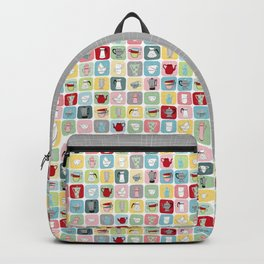 Retro Coffee Pots and Cups Pattern Backpack