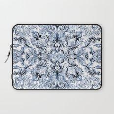 Indigo, Navy Blue and White Calligraphy Doodle Pattern Laptop Sleeve