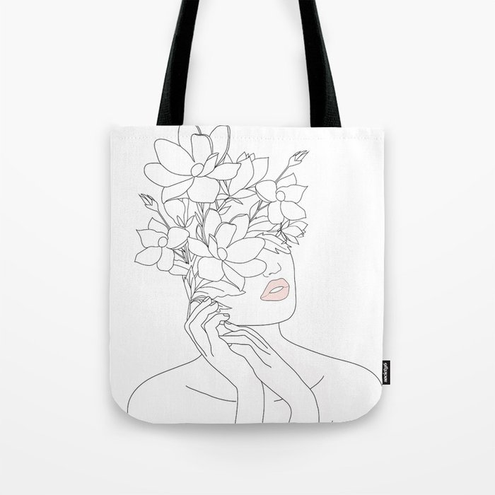 Minimal Line Art Woman with Magnolia Tote Bag