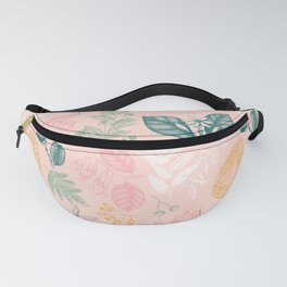Modern Pink Green Yellow Hand Painted Exotic Floral Fanny Pack