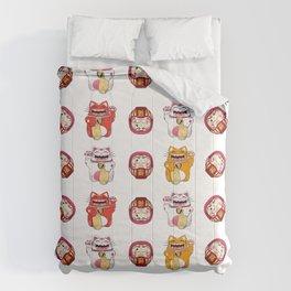 Colorful Maneki - neko pattern design Comforters