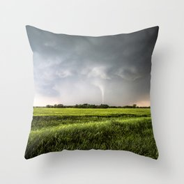 White Tornado - Twister Emerges from Rain Over Field in Kansas Throw Pillow
