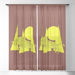 yellow geometric composition on the brown with bull Sheer Curtain
