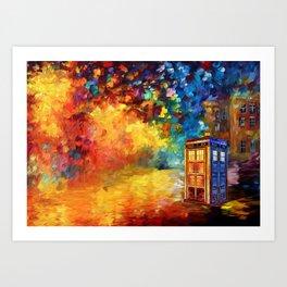 Police Phone Box at Rainbow city Art painting iPhone 4 4s 5 5c 6 7, pillow case, mugs and tshirt Art Print