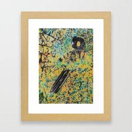 Black Cockatoo in Wattle Framed Art Print