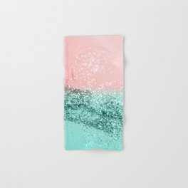 Summer Vibes Glitter #4 #coral #mint #shiny #decor #art #society6 Hand & Bath Towel