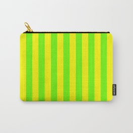 Super Bright Neon Yellow and Green Vertical Beach Hut Stripes Carry-All Pouch
