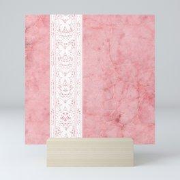 Delicate White Stripe Butterfly Pattern Pink Texure Design Mini Art Print