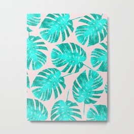 Turquoise tropical pattern Metal Print
