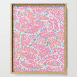 Tropical Caladium Leaves Pattern - Pink Serving Tray