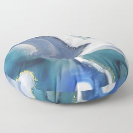 Niagara Mist - abstract fluid marble indigo blue, teal and gold  Floor Pillow
