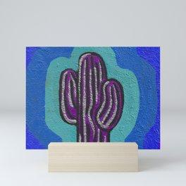 Saguaro Painting- Violet, Turquoise, Blue Mini Art Print