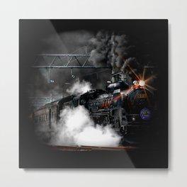 Vintage Steam Engine Black Locomotive Train Metal Print